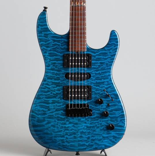 Custom S-Style MasterGrade QMT Skyline Inlay Trans Blue 2017