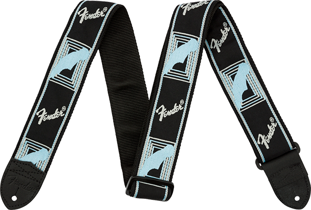 "【ネコポス発送】Fender® 2"" Monogrammed Strap Black/Light Grey/Blue"