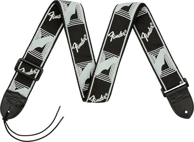 "【ネコポス発送】Fender® 2"" Monogrammed Strap Black/Light Grey/Dark Grey"