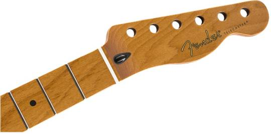 "Roasted Maple Telecaster Neck, 22 Jumbo Frets, 12"", Maple, Flat Oval Shape"