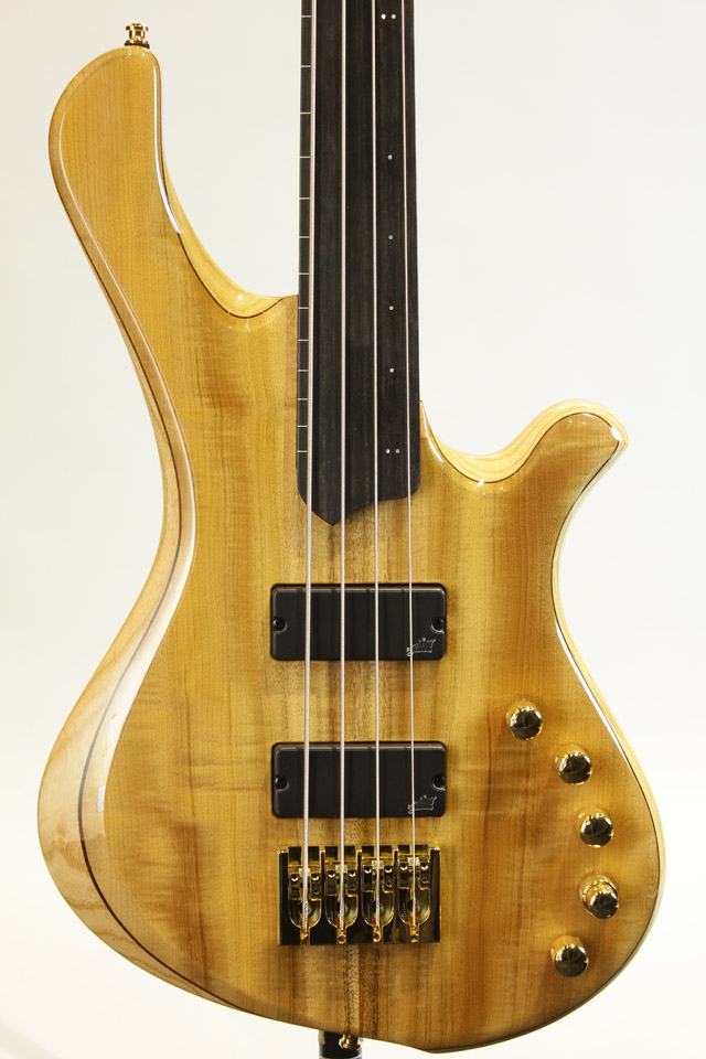 【現地選定木材採用】Be Elite 4st Fretless -Myrtle top-