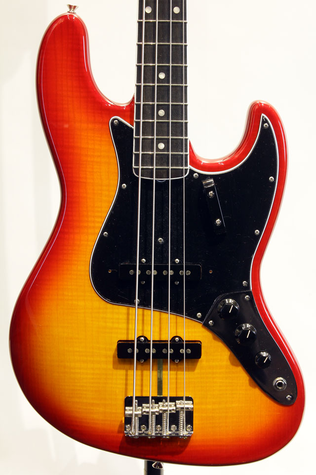 RARITIES FLAME ASH TOP JAZZ BASS (Plasma Red Burst)