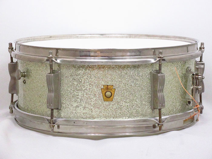 "【VINTAGE】60's Pioneer Sparkling Silver Pearl 14""×5.5"" Nickel Over Brass Hoops"
