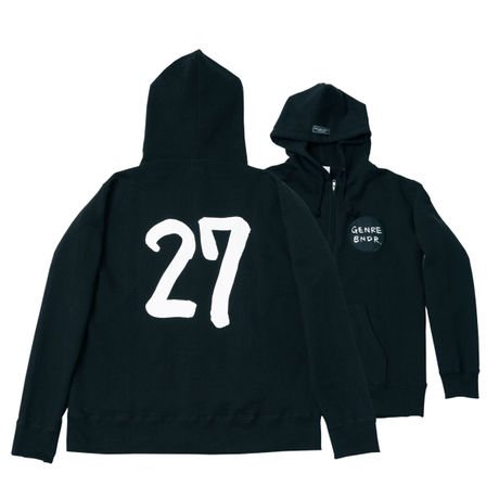 【ステッカー付き】The 27 Club Back Print / 12.4oz BLK w/GB刺繍 Zip-up(size:L)