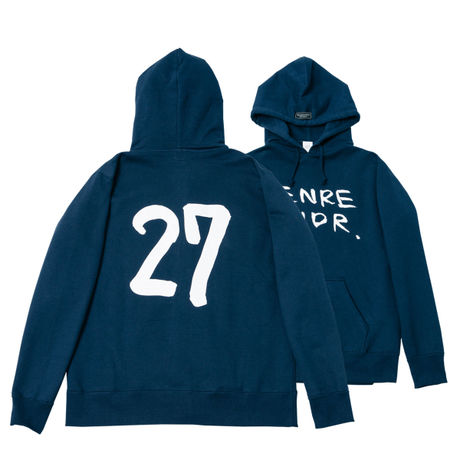 【ステッカー付き】The 27 Club Back Print / 12.4oz NVY w/GB Hoodie(size:L)