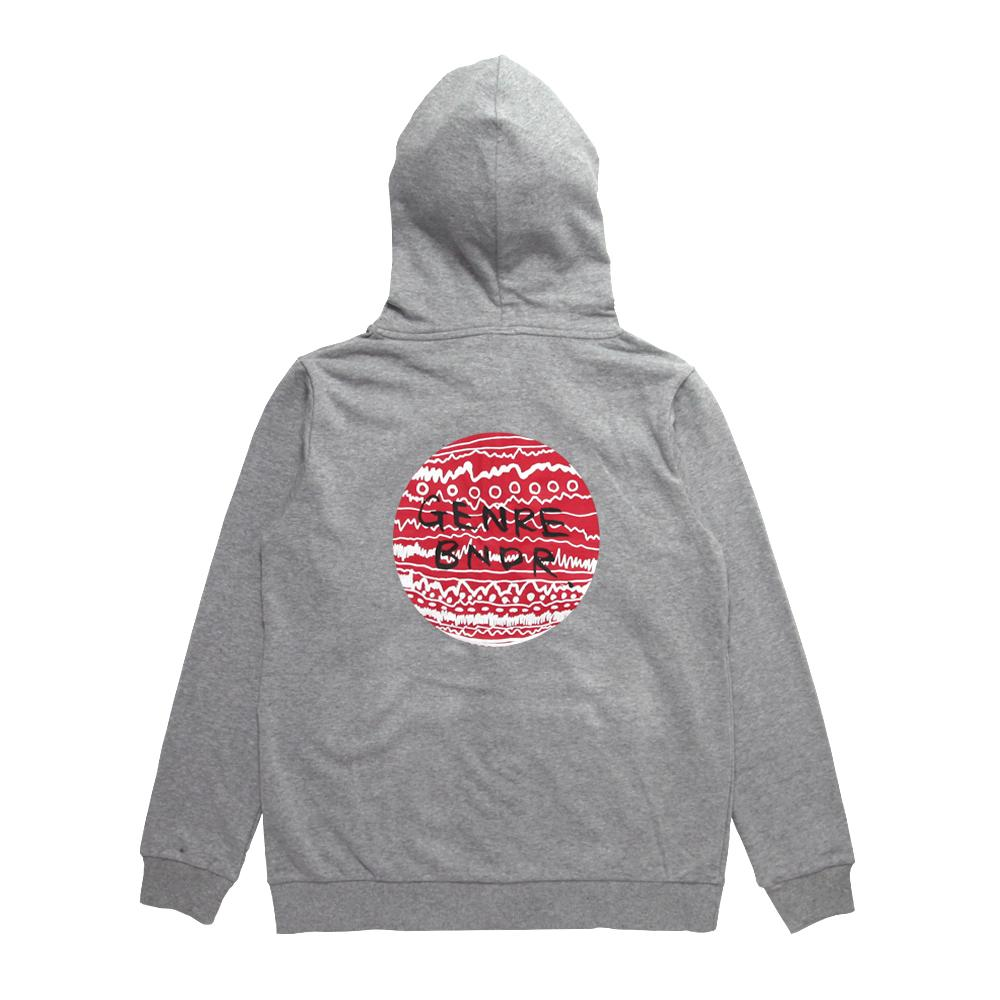 【ステッカー付き】ZIP-UP w/RED TRIBE on GRY Grey - Red / 7.4oz