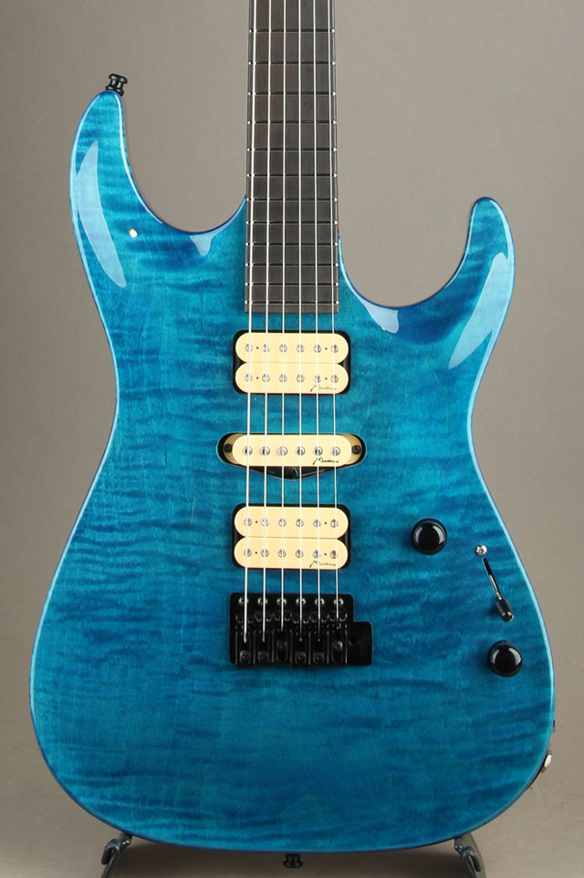 Carve Top Flamed Maple H-S-H Trans Blue